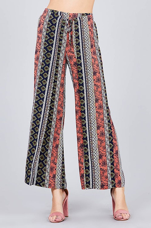 Active Basic - RONT WRAP w/STRING TIE PRINT LONG PANTS