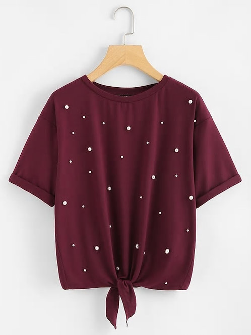 Pearl Embellished Knot Front Tee