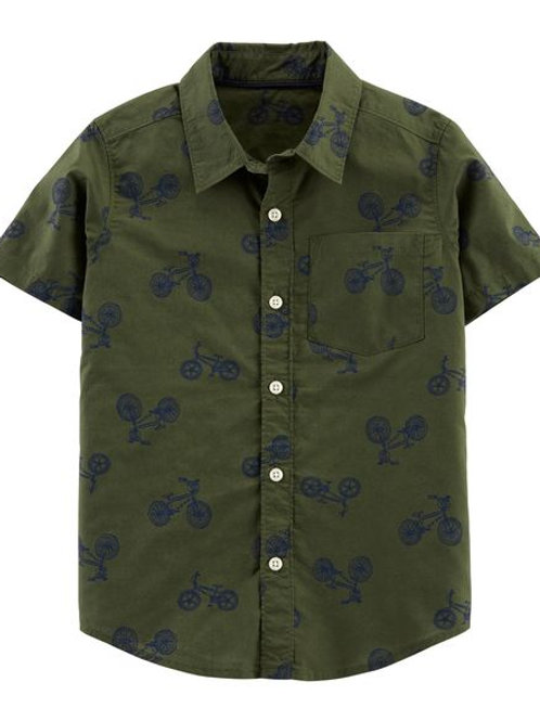 Carters, Bicycle Poplin Button-Front Shirt