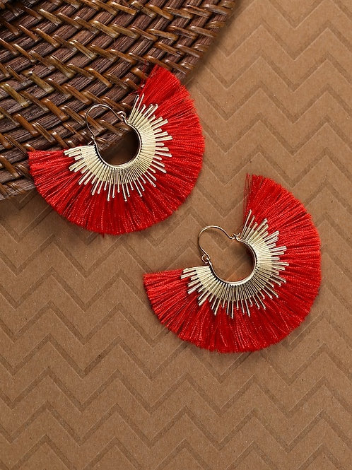 Gold Hoop Sunburst With Fringe Detail Earrings