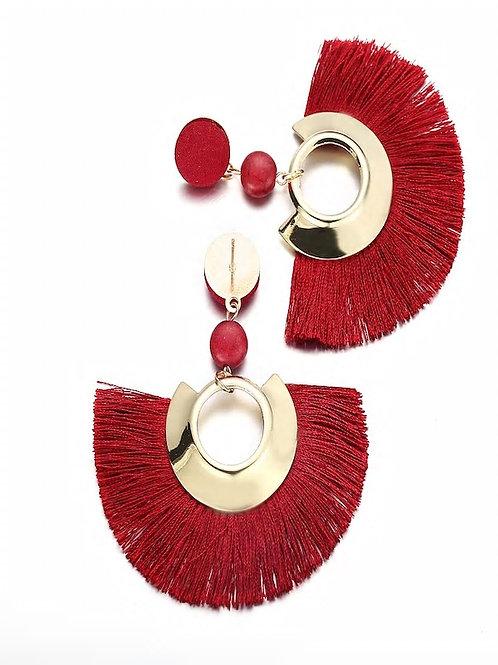 Fan Shaped Open Tassel Drop Earrings 1pair red