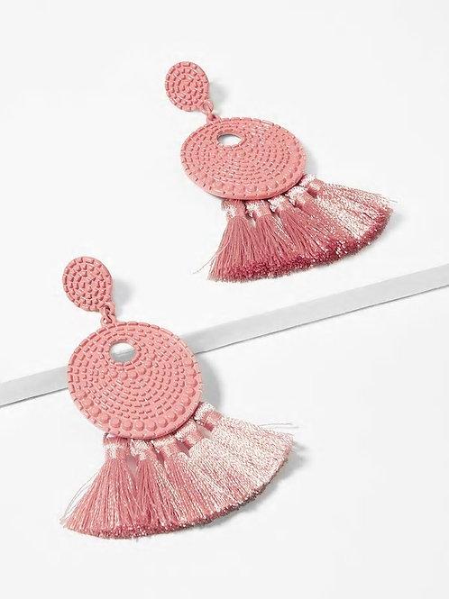 Textured Round Tassel Drop Earrings 1pair pink