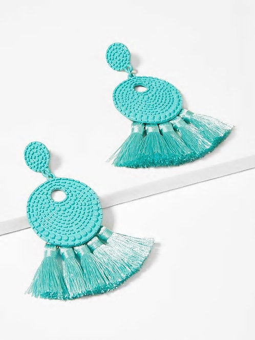Textured Round Tassel Drop Earrings 1pair blue