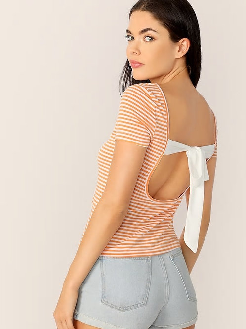 Striped Backless Tie Back Top