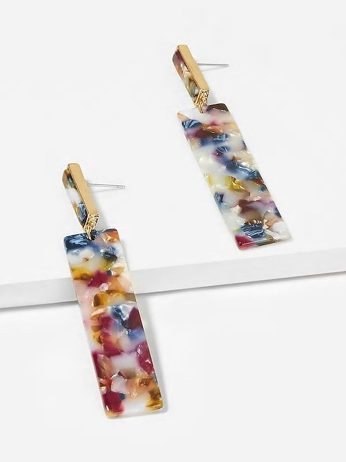 Floral Pattern Bar Drop Earrings 1pair