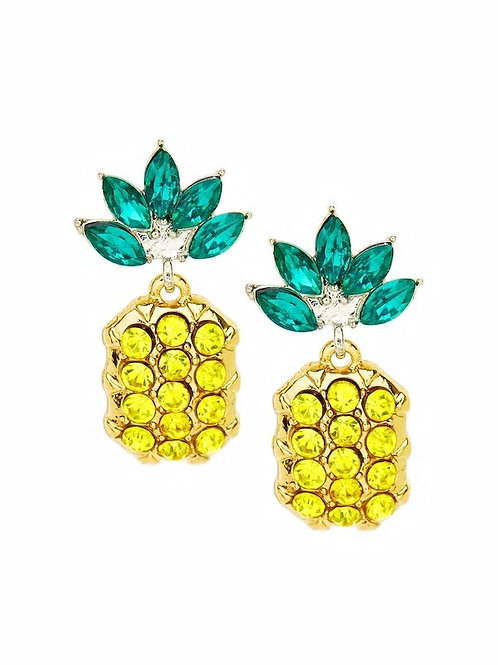 Rhinestone Overlay Pineapple Shaped Earrings