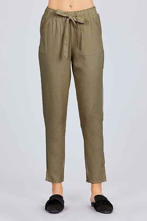 Active Basic - FRONT TIE OUT POCKET DETAIL LINEN LONG PANTS