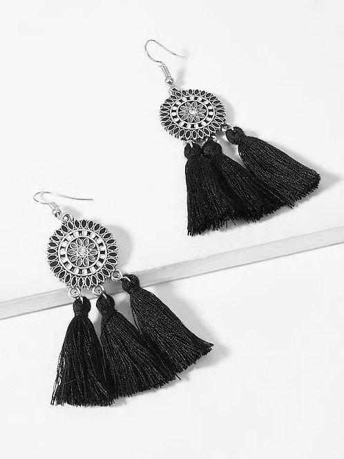 Tassel Sector Drop Earrings 1pair black