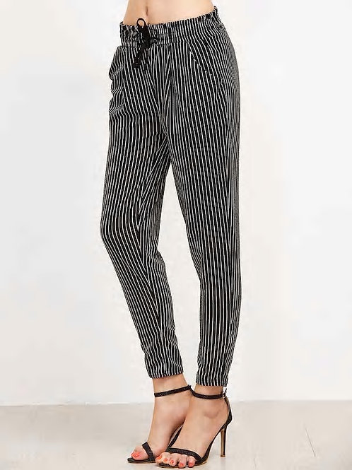 Vertical Pinstriped Tapered Leg Pants