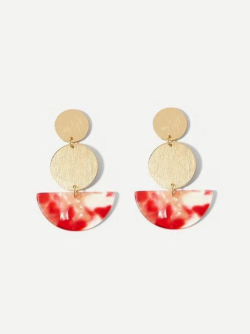 Marble Pattern Detail Round Drop Earrings 1pair