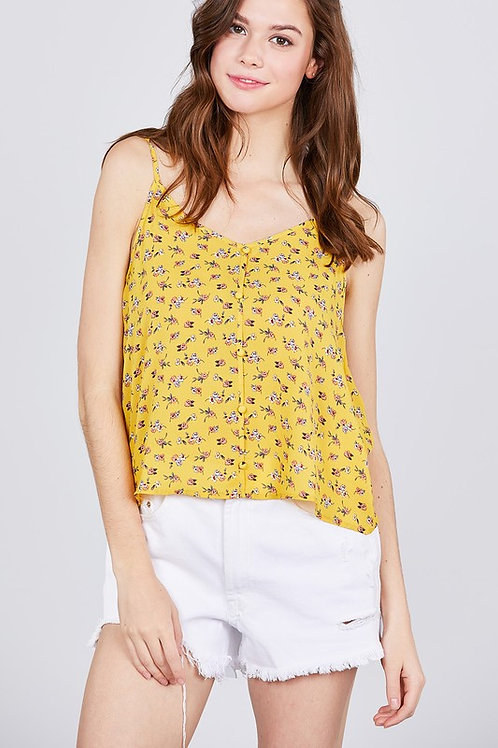 HALTER NECK BUTTON DOWN FLOWER PRINT WOVEN TOP