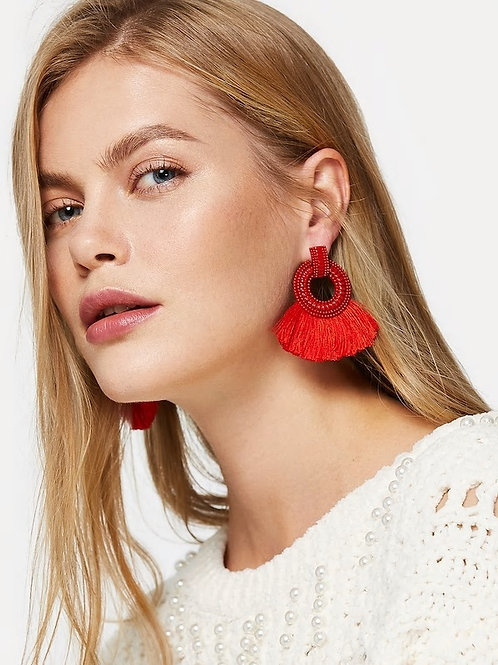 Tassel Decorated Hoop Drop Earrings 1pair red