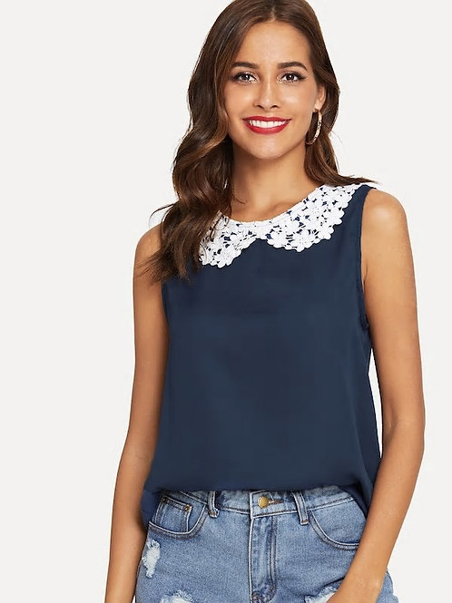 Shell Top with Lace Peter Pan Collar
