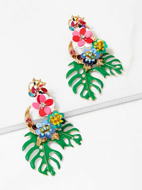 Tropical Leaves & Sequin Flower Drop Earrings 1pair