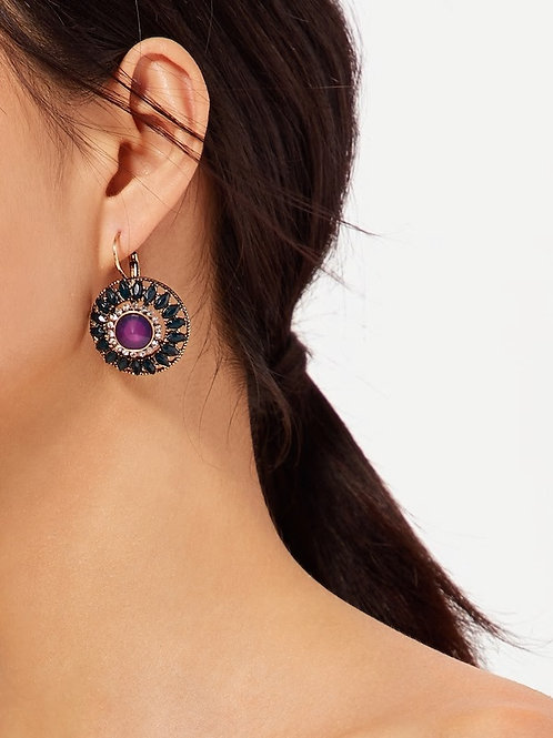 Contrast Round Earrings With Rhinestone 1pair
