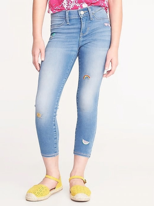 Old Navy, Ballerina Embroidered-Patch Ankle Jeans for Girls