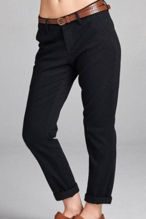 Twill long pants with belt