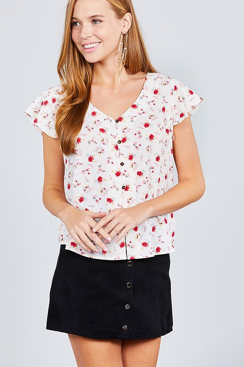 RUFFLE SHORT SLEEVE V-NECK w/BUTTON DOWN BACK BOW TIE DETAIL PRINT WOVEN TOP