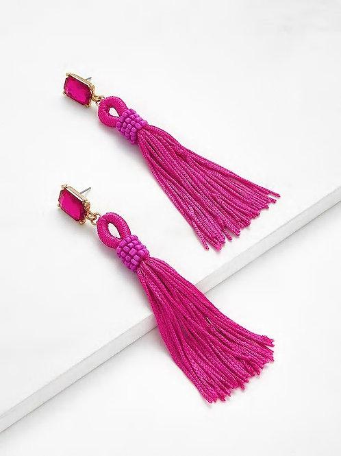 Neon Pink Rhinestone Top Tassel Drop Earrings