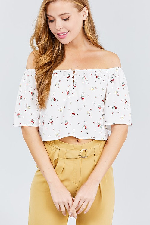 Elbow Bell Sleeve Off The Shoulder Button Top