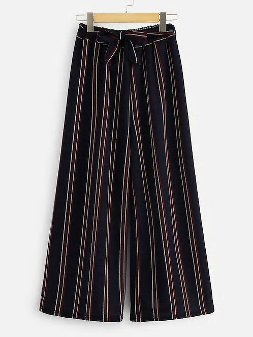Striped Wide Leg Belt Pants