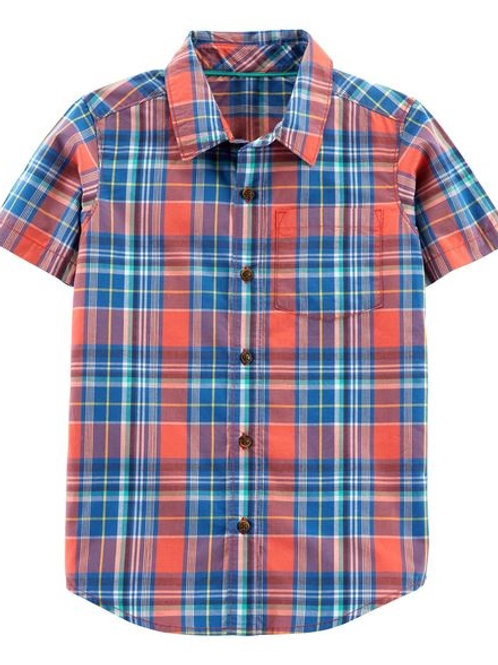 Carters, Plaid Poplin Button-Front Shirt