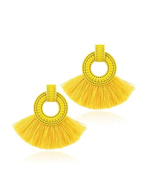 Tassel Decorated Hoop Drop Earrings 1pair yellow