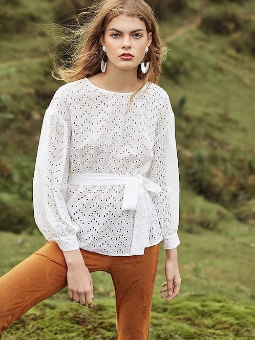 Bishop Sleeve Eyelet Embroidered Top With Belt