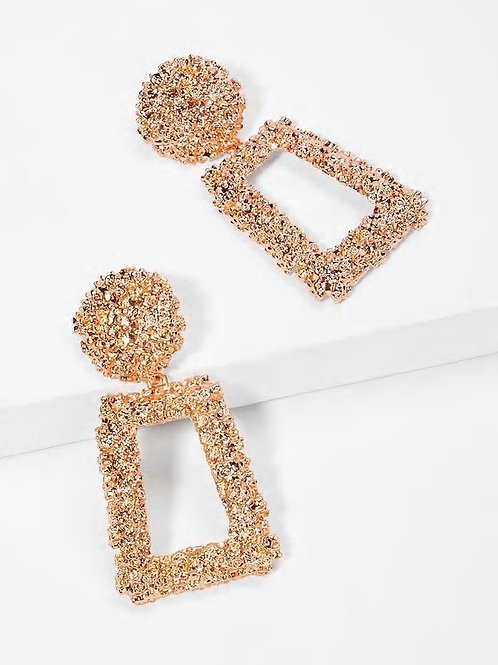 Open Rectangle Textured Drop Earrings 1pair rose gold