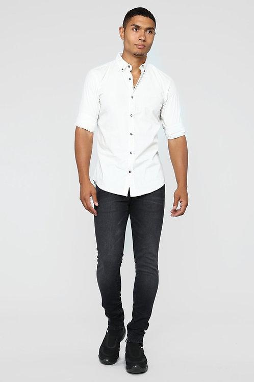 FASHIONNOVA - Irving Long Sleeve Woven Top - White/Black