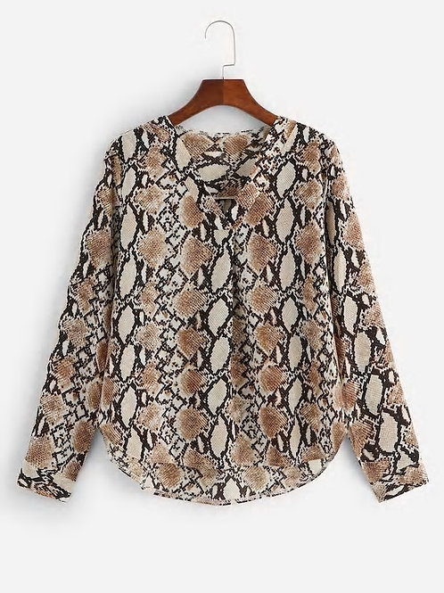 Snake Print V-Neck Blouse