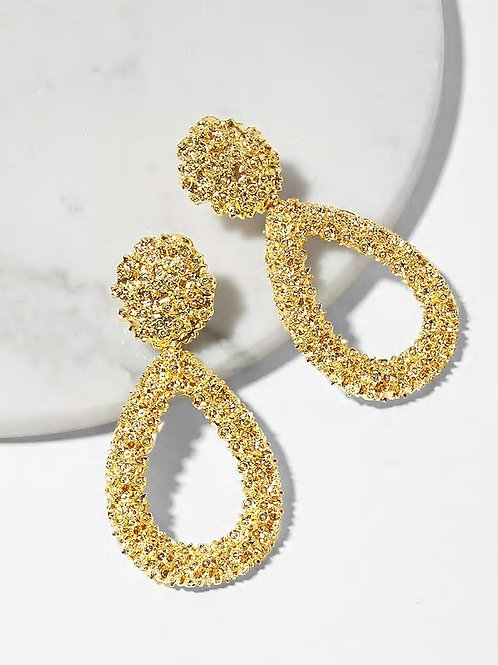 Open Waterdrop Textured Drop Earrings 1pair gold
