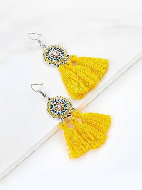 Rhinestone Detail Tassel Drop Earrings 1pair yellow