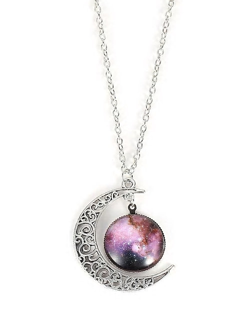 Star Sky Round & Moon Pendant Necklace