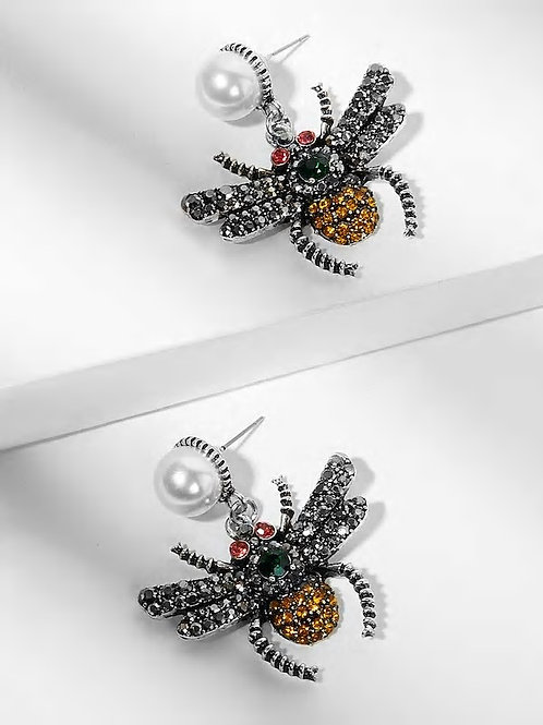 Rhinestone Spider Shaped Drop Earrings 1pair