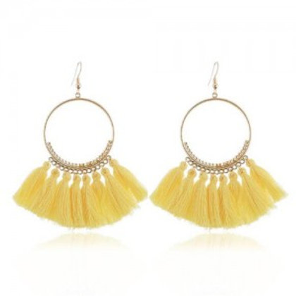 high-fashion-cotton-threads-tassel-big-hoop-statement-earrings-yellow