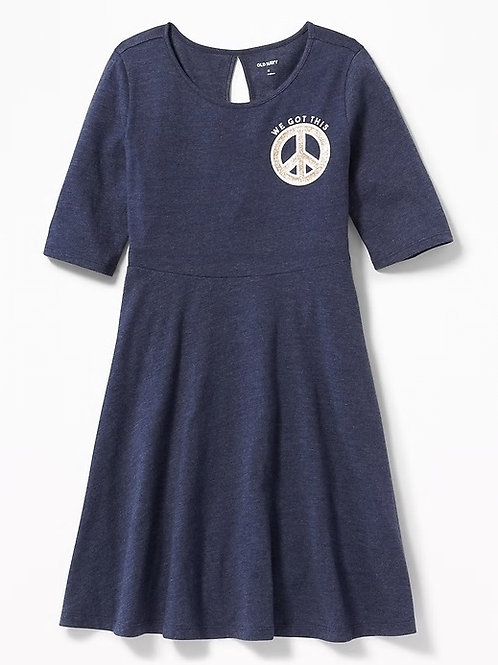 Old Navy, Patterned Jersey Fit & Flare Dress for Girls
