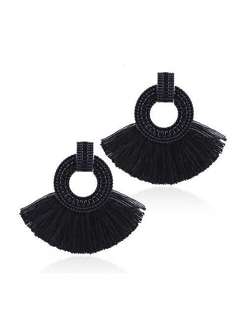 Tassel Decorated Hoop Drop Earrings 1pair black