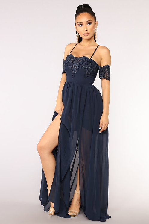 FASHION NOVA - Visionary Chiffon Dress – Navy