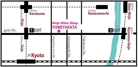 alquiler kimono kyoto yumeyakata gojo mapa dirección acceso transporte