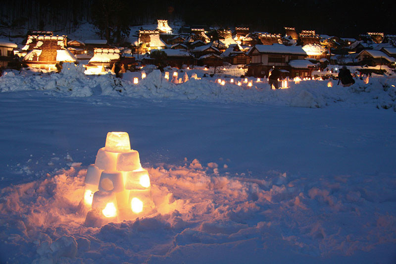 Miyama Kayabuki-no-sato Snow lamp tour