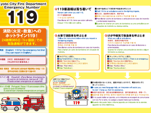 Kyoto City Fire Department Emergency Number 119