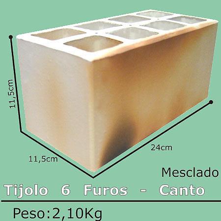Tijolo Mesclado Canto 6 Furos - 11,5x11,5x24