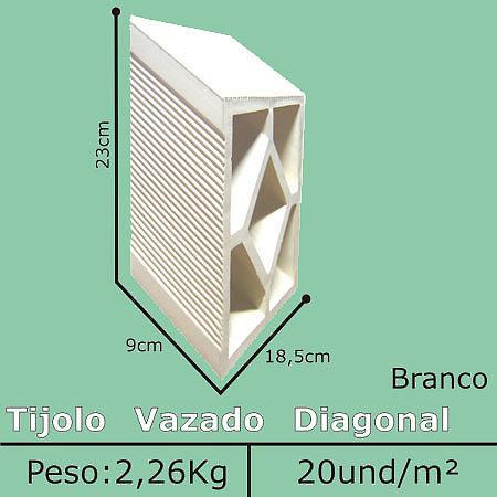 Elemento vazado Branco Diagonal