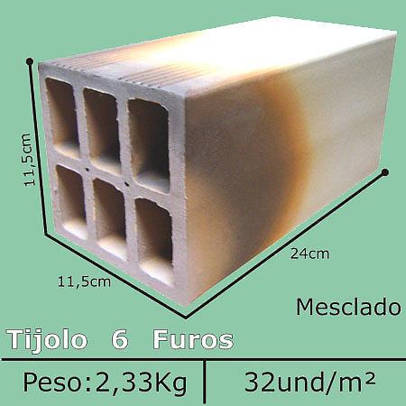Tijolo Mesclado 6 Furos 11,5x11,5x24