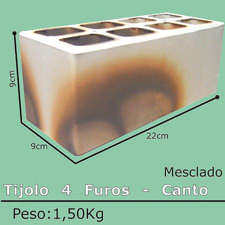 Tijolo Mesclado Canto 4 Furos - 9x9x24