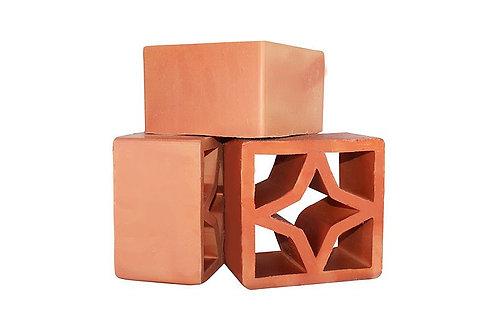 Elemento Vazado Vermelho Estrela -16,8x16,8x5,5cm