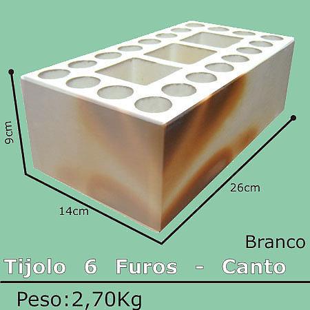 Tijolo Mesclado Canto 6 Furos 11,5x11,5x24
