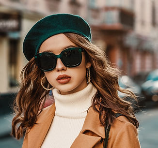 Model with high fashion glasses.