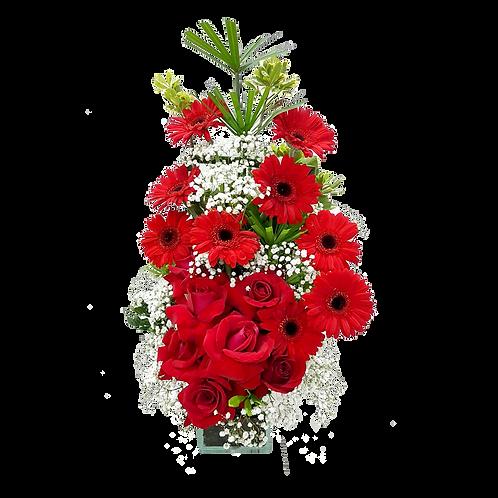 Arranjo de Gérberas e Rosas Vermelhas